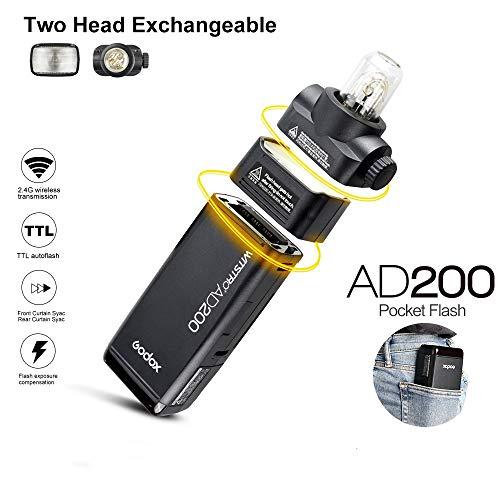 Godox AD200 Pocket Flash 2.4G TTL Speedlite Flash Strobe HSS Monolight with 2900mAh Lithium Battery 200WS and Bare Bulb Flash Head to Cover 500 Flashes Flash Head