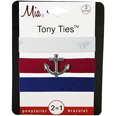 Mia Tony Ties with Charms, White, Red with Anchor, Navy Blue by MIA