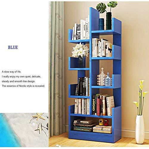 Shelves Duo Bücherregal Bücherregal Boden einfache Moderne Bücherregal Kinder Regal kreative Wohnzimmer Schrank einfache Locker Raum Hängeregal, (Farbe : Blau) -