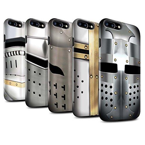 STUFF4 Glanz Harten Stoßfest Hülle / Case für Apple iPhone 7 Plus / Kreuzritter Helm Muster / Ritter Rüstung Kollektion Pack 5pcs