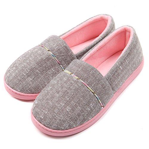 26480b2f431 ChicNChic Women s Comfortable Cotton Knit Anti Slip House Slippers Grey ...