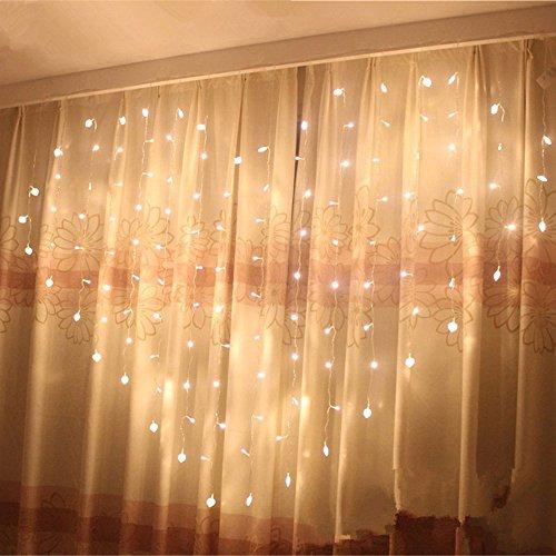 Eplze LED Rideau de Lumière 36pcs Coeur d'amour Autour de 2m x 1.5m 124 LEDs 8 Modes Commandables Résistant à l'eau Lumière Cordes pour la Fête de Noël Mariage Festival (Blanc chaud)