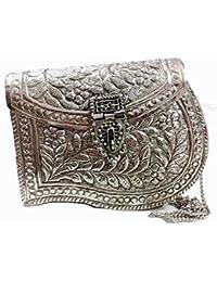 White Brass Metal Clutch Vintage Clutch Handmade Bag Metal Purse Ethnic Wallet