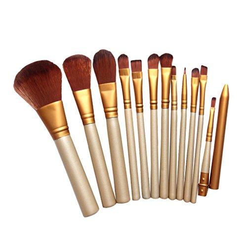 Set de 12pcs Pinceaux de Maquillage pour Fond de Teint Poudre Fard à Paupières Lèvres