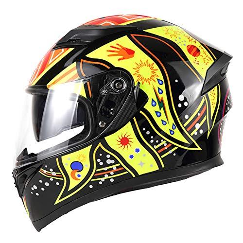 FAFY Caschi Integrali Casco Moto Casco Moto Modulare con Visiera Parasole Interna Sicurezza Doppia Lente Racing,Yellow-XXL(63-64cm)