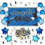 Blulu Kit de Decoración de Fiesta de Graduación de 29 Piezas, Foto Props de Graduación, Pancarta de Graduación, Globos y Confeti para Class of 2019 (Azul)