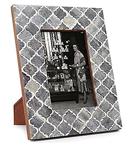 Picture Photo Frame Moorish Damask Moroccan Arts Inspired Handmade Naturals Bone Frames Size 4x6 & 5x7 Inches (Grey)