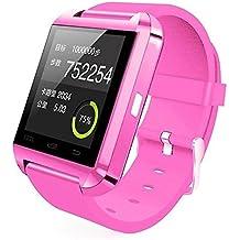 UxradG Sport U8 - Pulsera inteligente con podómetro, Bluetooth, recordatorio de llamadas, cámara remota para smartphones Android e iOS, 0.02, color rosa