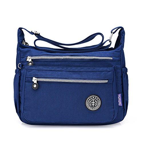 Outreo Schultertasche Damen Umhängetasche Leichter Kuriertasche Lässige Sporttasche Wasserdicht Messenger Bag Taschen Mode Reisetasche für Mädchen Blau 1