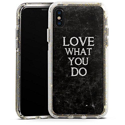 Apple iPhone 8 Bumper Hülle Bumper Case Glitzer Hülle Liebe Amour Love Bumper Case Glitzer gold