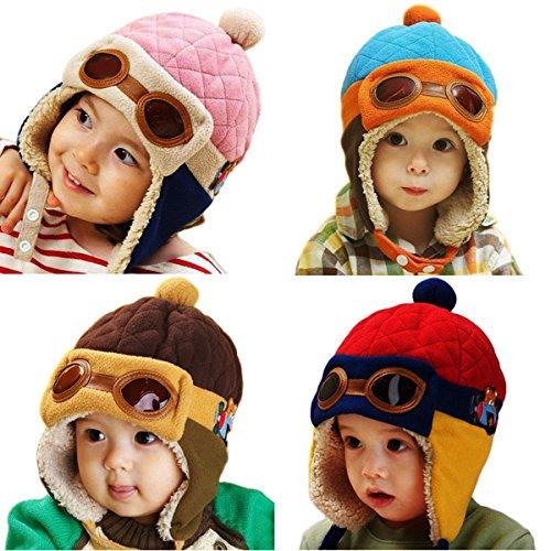 Hat Earflap Cap (Moppi Winter Unisex Baby Kleinkind Mädchen Ohrenschützer Flug Glasses Boy Kid Pilot Aviator Cap warme weiche Beanie Earflap Hat)