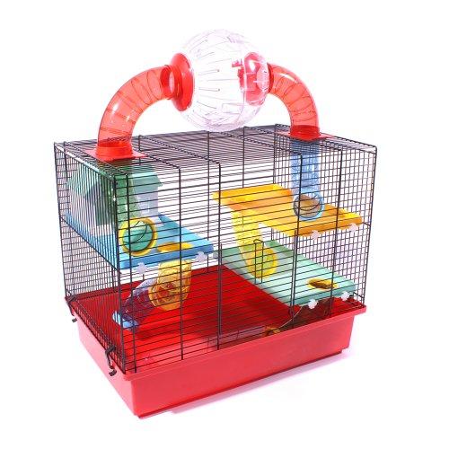 Hamsterkäfig Mäusekäfig Käfig INKLUSIVE LAUFBALL und umfangreicher Ausstattung OSKAR ROT