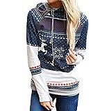 KIMODO Pullover Damen, Lang Kapuzenpullover Kapuzenjacke Hoodie Bluse Punkt Elch Schneeflocke Druck Kapuzenpullover Weihnachts (Marine, XXL)