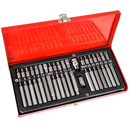 TecTake Bitsatz im Werkzeugkoffer für Inbus Schrauben Bits Torx Innen-Vielzahn Innen-6-kant aus Chrom-Vanadium Stahl - diverse Modelle - (40 teilig | Nr. 402444)