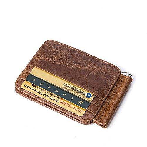 HANSHI Premium Leder Herren Damen Kreditkartenetui RFID und NFC Schutzhülle Kreditkartenhülle Kartenbörse Geldbörse Kleines Kartenetui Brieftasche Mini Geldbörse Geldspange Portemonnaie Unisex HPG02-A