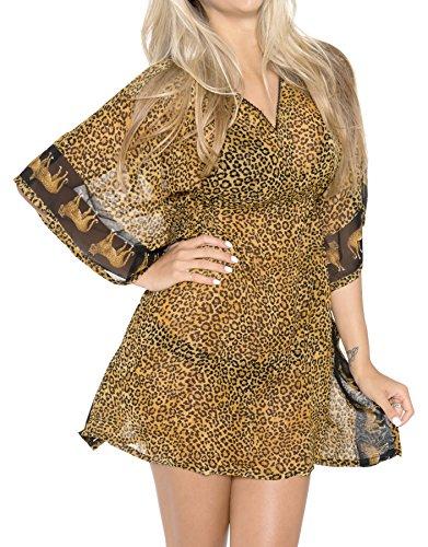 La Leela mousseline 5 oz maillot bain vintage art pur super léger hawaï4 1 plage couvrir tunique basic station robe maillots bain portent les femmes caftan marron