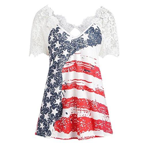 TWIFER Damen Patriotische Streifen Star American Flag Print Bluse Spitze Kurzarm T-Shirt Tank Top