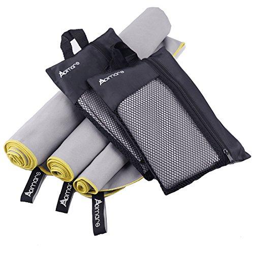 Mikrofaser Handtücher Set Schnell Trocknendes Groß Sporthandtuch - Extra saugfähig Reise-Handtuch Kompakt Leicht für Reise,Sport, Turnhalle, Schwimmen oder Yoga Inklusive Tragetasche - 3 Stück Abimars