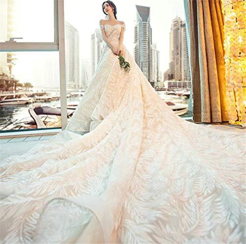 ELEGENCE-Z Hochzeitskleid, Europa und Amerika luxuriöse edle hochwertige Spitze sexy trägerlosen Träger Taille Slim Fit Kleid - Seide Trägerlosen Brautkleid