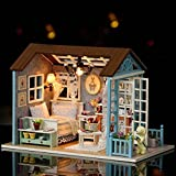 3D DIY LED Wooden Puzzle Miniature Doll House, Indexp Christmas Creative Furniture Handcraft Jigsaw Educational Toy Gift Set (Happy House/15.1x11.6x13.1cm)