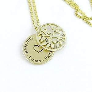 Echt Gold 333 Kette mit Anhänger und Lasergravur - Lebensbaum Namenskette Familienkette