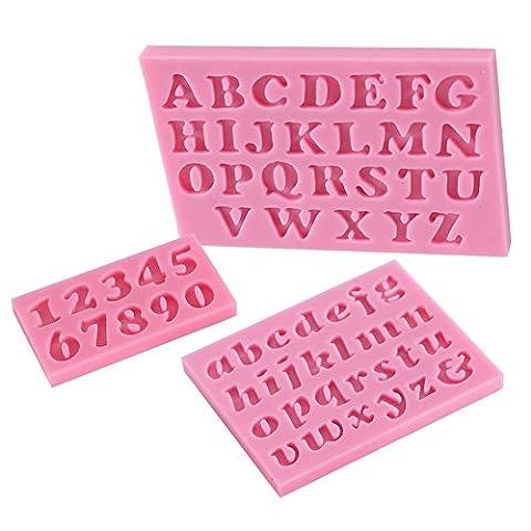 C-pioneer 3pcs DIY Mini Coque en silicone Lettre et numéro faite à la main Fondant Décoration de gâteaux Moule