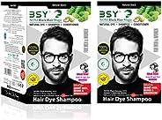 BSY Noni Black Hair Magic Herbal Hair Color Dye Shampoo-12mlx12pcs