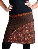 Vishes – Alternative Bekleidung – Kurzer bestickter Rock aus Jersey Baumwolle mit gestreiftem Bund braun 34/36