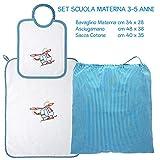 Coccole- set asilo'elicottero turchese' - 3 pezzi: 1 bavaglino, 1 asciugamano e 1 sacca - turchese - 3 mesi - 5 anni Scuola materna