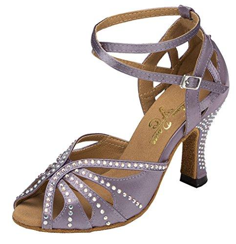 CFP Yfyc-l162 Womens Professional Mode Latin Tango ChaCha Chaton Talon en satin Chaussures de danse - Gris - gris,