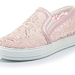 ShangYi gyht Scarpe Donna-Mocassini-Formale / Casual-Plateau / Creepers / Punta arrotondata-Plateau-Pizzo / Tulle / Finta pelle-Nero / Rosa / Bianco , pink-us8.5 / eu39 / uk6.5 / cn40 , pink-us8.5 / eu39 / uk6.5 / cn40