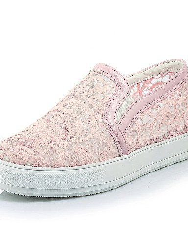 ShangYi gyht Scarpe Donna-Mocassini-Formale / Casual-Plateau / Creepers / Punta arrotondata-Plateau-Pizzo / Tulle / Finta pelle-Nero / Rosa / Bianco White