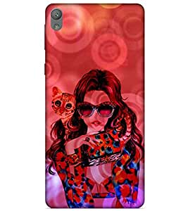 For Sony Xperia E5 cute girl ( beautiful girl, girl with cat, cat, red background, cute girl ) Printed Designer Back Case Cover By FashionCops
