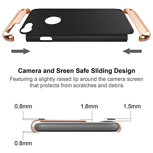 iPhone 7cellulare, iPhone 7Case, lontect [3in 1] superficie antiscivolo perfettamente sottile e sottile cover rigida per Apple iPhone 7 nero