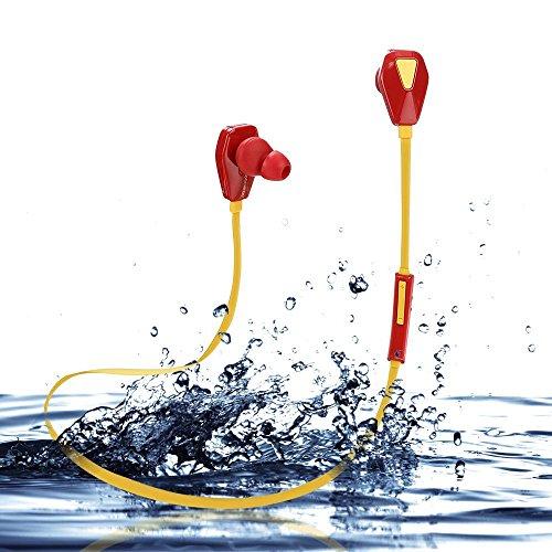 Bluetooth Kopfhörer 4.1 In Ear Stereo mit Mikrofon Kopfhörer Magnetische Headset Sweatproof Sport-laufende Earbuds mit Noise Cancelling für iPhone,Android,iPad,Samsung,Nexus,HTC und mehr(Iron Man) (Iron Man-ohrhörer)