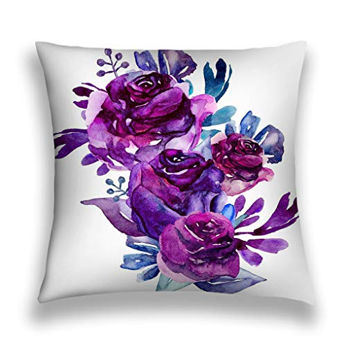 Tyuyui Pillow Cases Watercolor Purple Flowers Clip Art floral Bouquet Illustration Botanical Clipart Grey tempurpedic