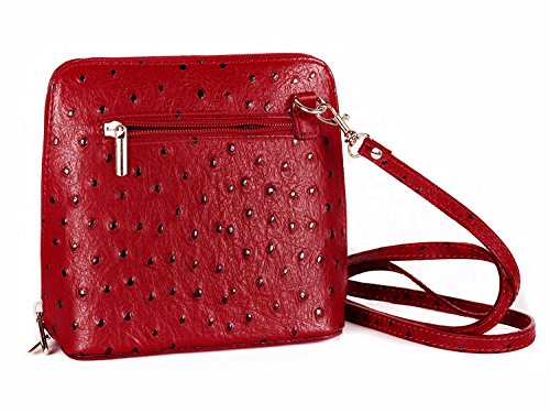 ITALIENISCHE HANDTASCHE SCHULTERTASCHE UMHÄNGETASCHE ECHT LEDER STRAUß KL (Rot) (Handtasche Straußenleder)