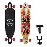 """(Certificación GS)Yorbay 41""""pulgadas tabla monopatín skateboard completo hecho con 9 capas de madera de arce canadiense hasta 100kg Con T-herramienta y un soporte colgante de pared (modelo 1/ruedas rojas)"""