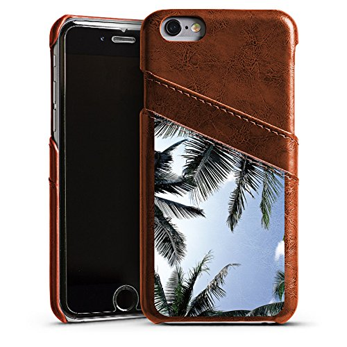 Apple iPhone 4 Housse Étui Silicone Coque Protection Palmiers Ciel Nature Étui en cuir marron