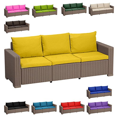 Outdoor water resistant 6 piece seat cushion set for keter allibert california rattan 3 seater - Garden furniture colours ...