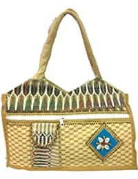 Medium Size Stylish Eco-friendly Jute Handbag Tote Bag With Zippered Closure Jute Canvas Laminated