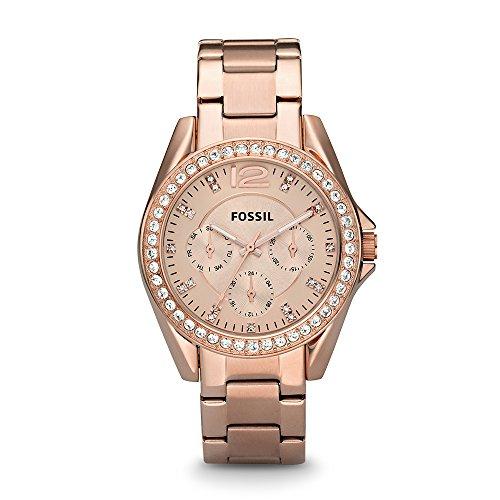 Fossil Riley Damen-Uhr roségold / Elegante Edelstahl Armbanduhr mit Strasssteinen - wasserfestes Quarz Uhrwerk inkl. Wochentags- & Datumsanzeige