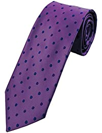 Collar and Cuffs London - High Quality Handmade Tie - Luxury Fashion Lilac With Purple and Blue Twin Dot Pattern