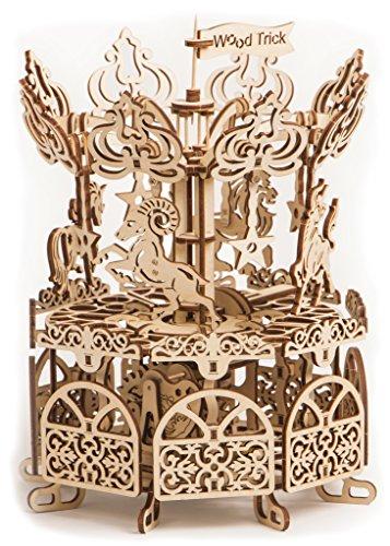 Puzzle de madera 3D con movimiento mecánico - Carrusel