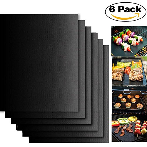 Charmglow Grill-grills (BBQ Grillmatten zum Grillen und Backen, 6er Set BBQ antihaft wiederverwendbar Grillmatte für Grill von Weber (Genesis), Charmglow, Brinkmann, Jenn Air, Uniflame, Lowes, und anderen Modellen-40x33cm(schwarz) (6))