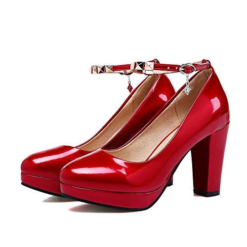 AgooLar Femme Rond Boucle Pu Cuir Couleur Unie à Talon Haut Chaussures Légeres Rouge