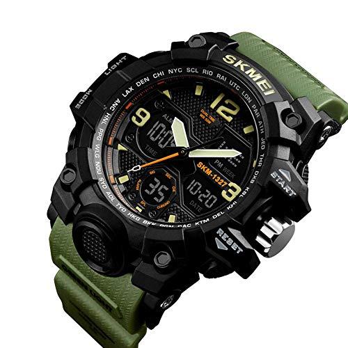 YSA Multifunktions-Sportarmbanduhr Woche anzeigen Kalender Datum 50m Wasserdichter Chronograph, grün (Der Woche Halloween-film)