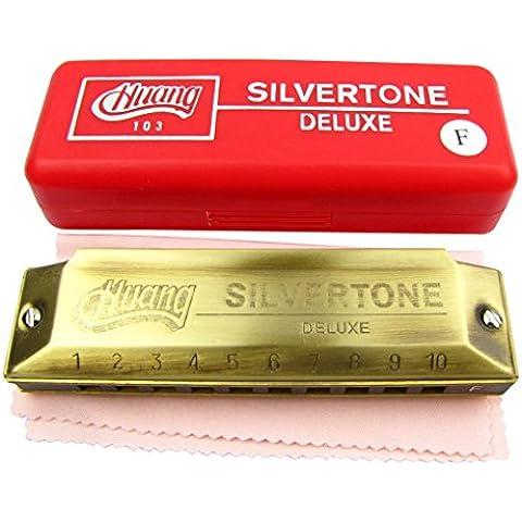 Huang Brand Pcs F 1 Deluxe-Portachiavi armonica a 10 fori, confezione da 20, colore: bronzo anticato Color carne