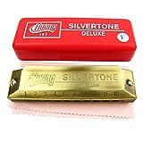Huang marque Silvertone Deluxe Harmonica 10 trous Clé de Fa Old couleur