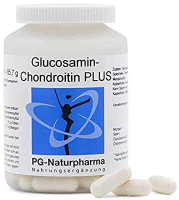 glucosamine and chondroitin · 100 capsules, high dosage of 1.500mg glucosamine sulphate, joint capsules with selenium & manganese against joint pain, manufactured in Germany from PG-Naturpharma GmbH